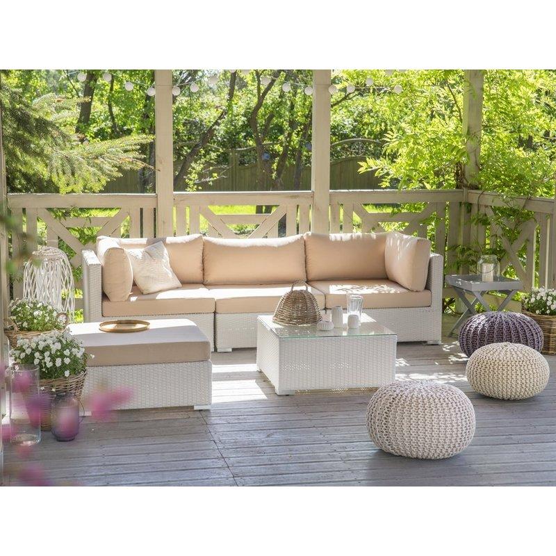 Salon de jardin en rotin blanc et coussins beiges sables SANO - 32533
