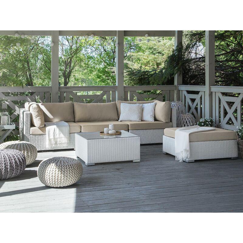Salon de jardin en rotin blanc SANO II