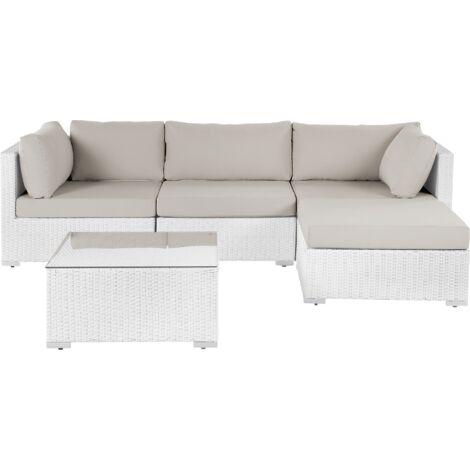 Salon de jardin en rotin blanc SANO II - 153449