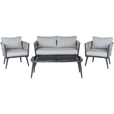 Salon de jardin en rotin gris et noir PREVEZA - 147581