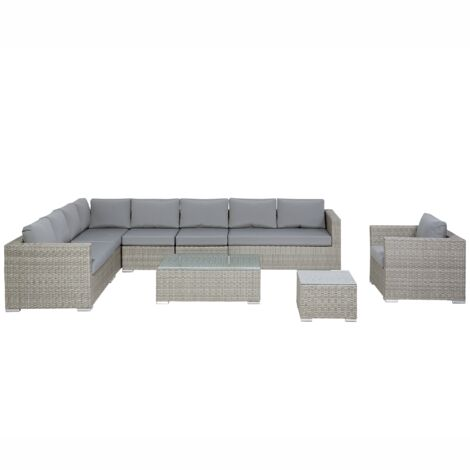 Salon de jardin en rotin gris XXL - 63916