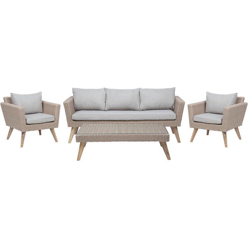Beliani - Salon de jardin en rotin marron et gris VITTORIA XL