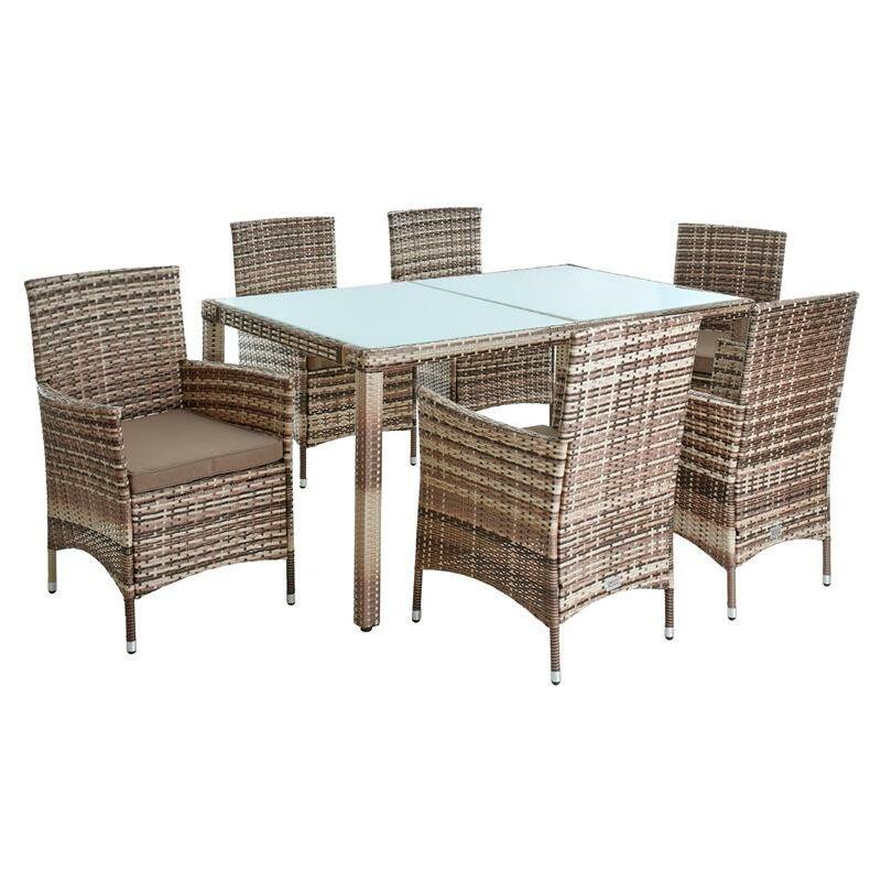 Ensemble d'assise en poly-rotin Ensemble salle à manger Meubles de jardin Set 6