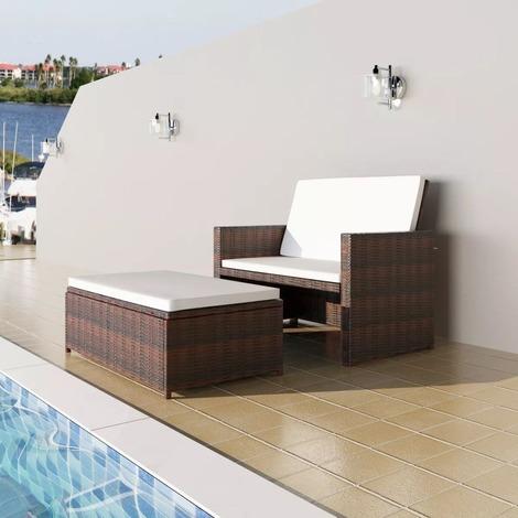 Salon de jardin en rotin synthétique brun et coussins crème - MJ43070