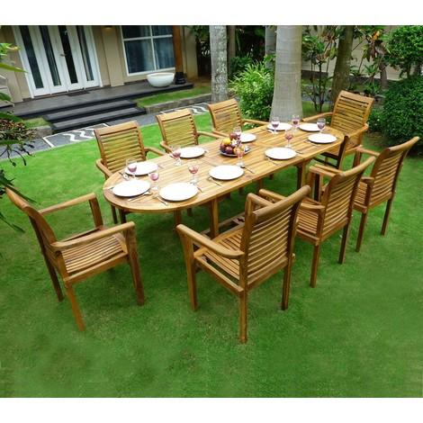Salon de jardin en teck 8 fauteuils de jardin en teck empilables - 54
