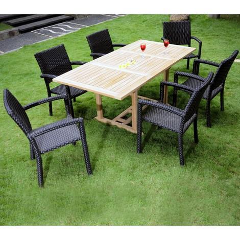 Salon de jardin en teck avec 6 chaises résine pour 6-8 personnes ...