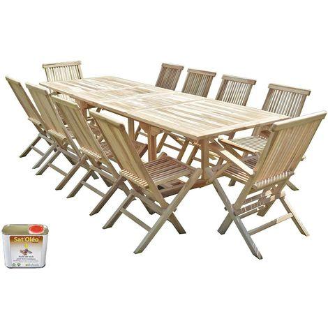 Salon de jardin en teck BATAN 8 chaises 2 fauteuils - Bundle huile
