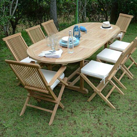 Salon de jardin en teck Ecograde Bora-Bora, table extensible 1,60 à ...