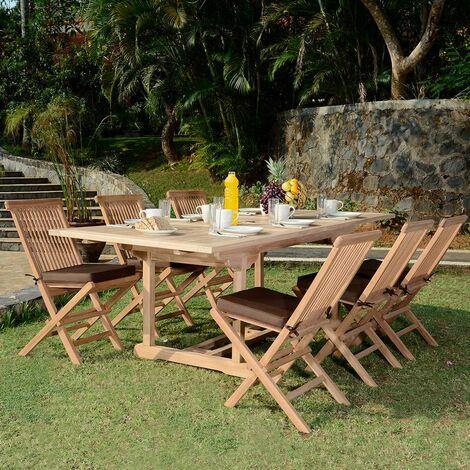 Salon de jardin en teck Ecograde Caraibes, table extensible ...