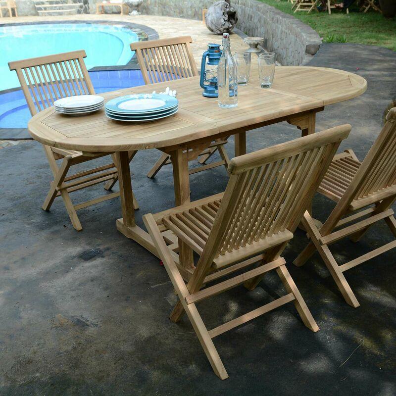 Salon de jardin en teck Ecograde Hawai, table extensible 1,2 à 1,8 m + 4  chaises Java