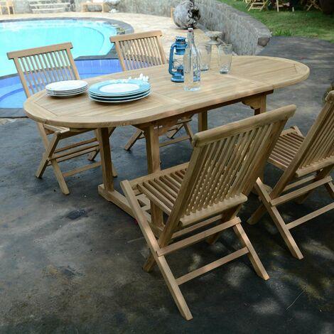 Salon de jardin en teck Ecograde Hawai, table extensible 1,2 ...