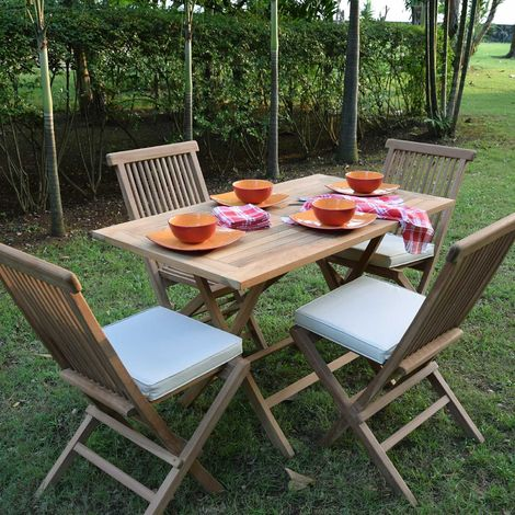 Salon de jardin en teck Ecograde Makassar, 4 places - Naturel