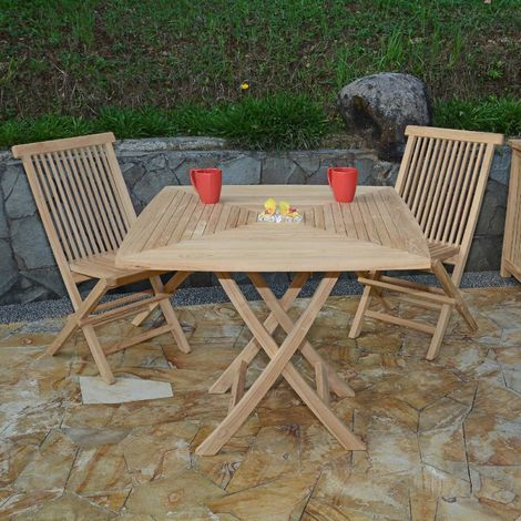 Salon de jardin en teck Ecograde Malo, table pliante carrée ...