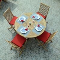 Salon De Jardin En Teck Ecograde Managua Table Pliante Diametre 120 Cm 4 Chaises