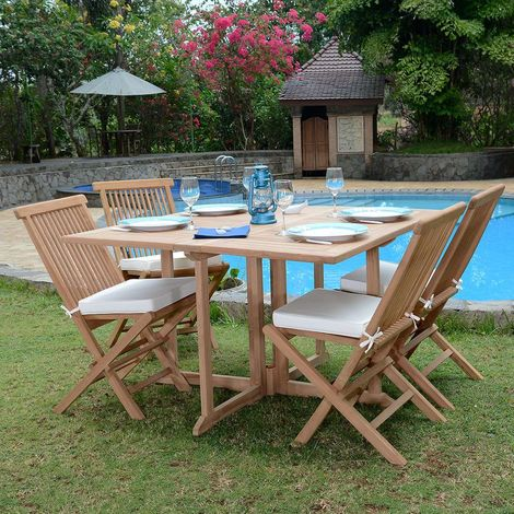 Salon de jardin en teck Ecograde Papeete, table pliante carrée 120 x ...