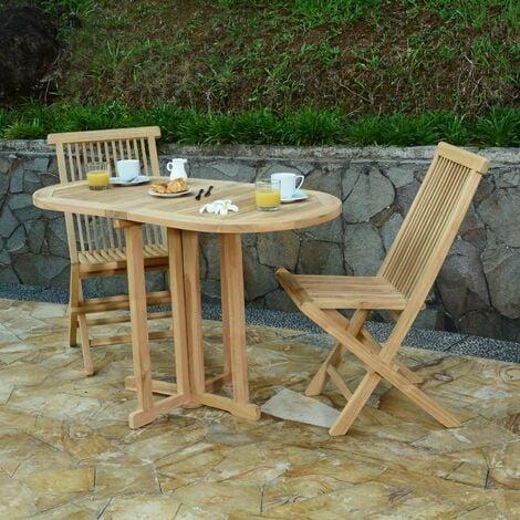 Salon de jardin en teck Ecograde Tahiti, 2 places - Naturel