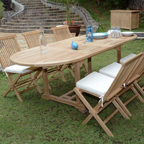 "main image of ""Salon de jardin en teck Ecograde Tanao, 6 places - Naturel"""