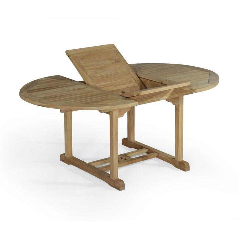 Salon de jardin en teck Ecograde Wesport, table ronde extensible 1,2 ...