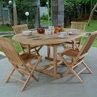 Salon de jardin en teck Ecograde Wesport, table ronde extensible 1,2 à 1,7  m + 4 chaises Java