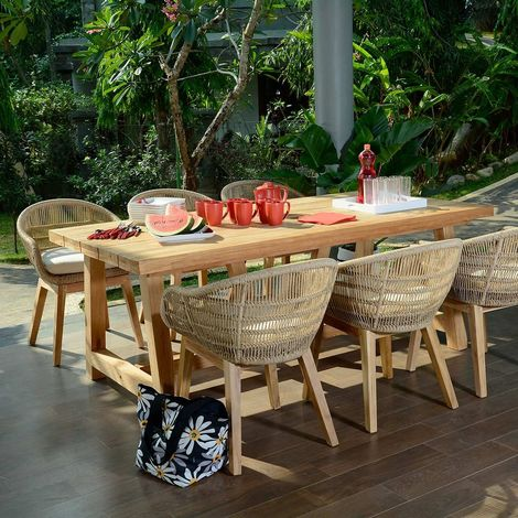 Salon de jardin en teck effet recyclé, Chaumont 250 - SJ-304-RS002L