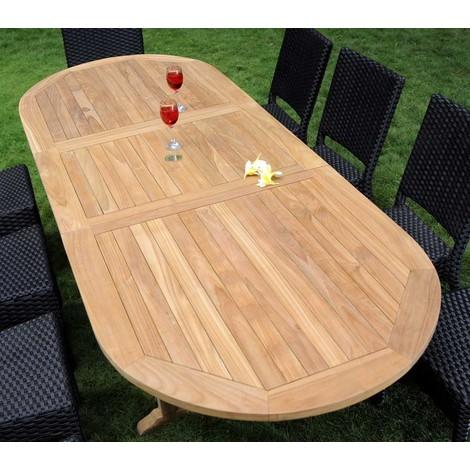 salon de jardin en teck et résine 8 chaises avec coussins - table ovale  180-240 cm