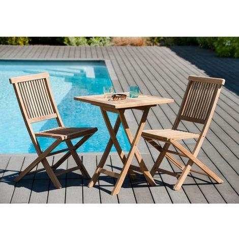 Salon de jardin en teck grade A, comprenant 1 table carrée pliante 60 cm et  1 lot de 2 chaises java - MACABANE