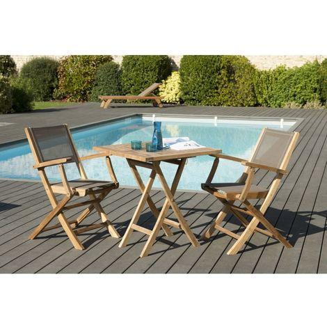 Salon de jardin en teck grade A, comprenant 1 table carrée pliante 70*70cm  et 1 lot de 2 fauteuils pliants textilène taupe - MACABANE