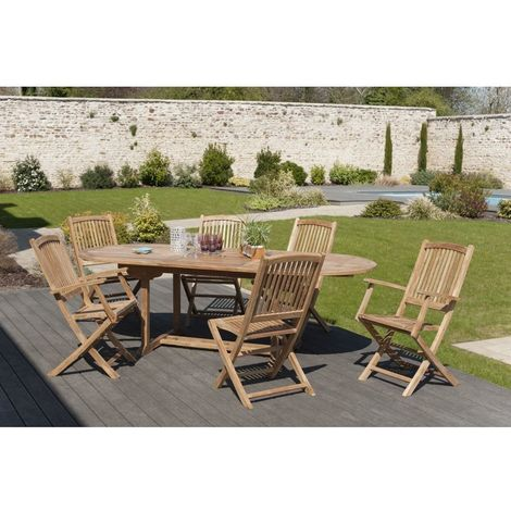 Salon de jardin en teck grade A, comprenant 1 table ovale 180*240/100 cm