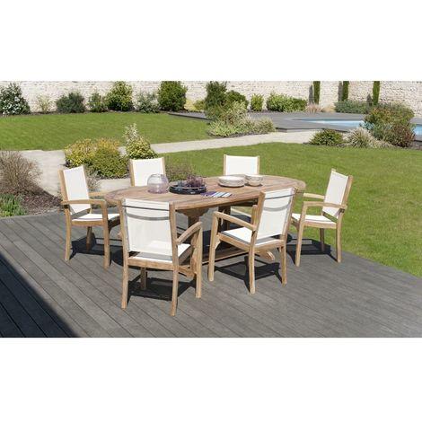 Salon de jardin en teck grade A, comprenant 1 table ovale 180*240/100 cm et  3 lots de 2 fauteuils dossier et assise couleur ivoire - MACABANE