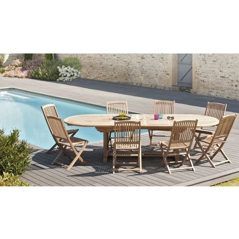 Salon de jardin en teck grade A, comprenant 1 table ovale 200*300/120 cm