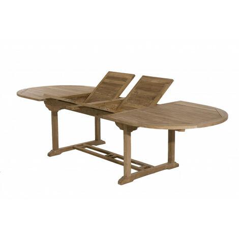 Salon de jardin en teck grade A, comprenant 1 table ovale 200*300/120 cm et  4 lots de 2 chaises lombock - MACABANE