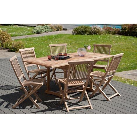 Salon de jardin en teck grade A, comprenant 1 table rectangulaire  120*180/90 cm et 3 lots de 2 chaises java - MACABANE