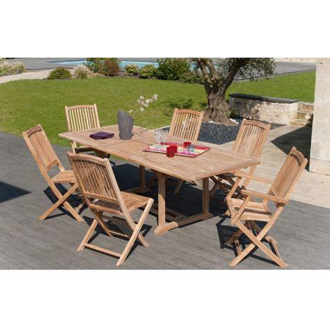 Salon de jardin en teck grade A, comprenant 1 table rectangulaire  180*240/100 cm + 2 lots de 2 chaises lombock et 1 lot de 2 fauteuils  lombock - ...