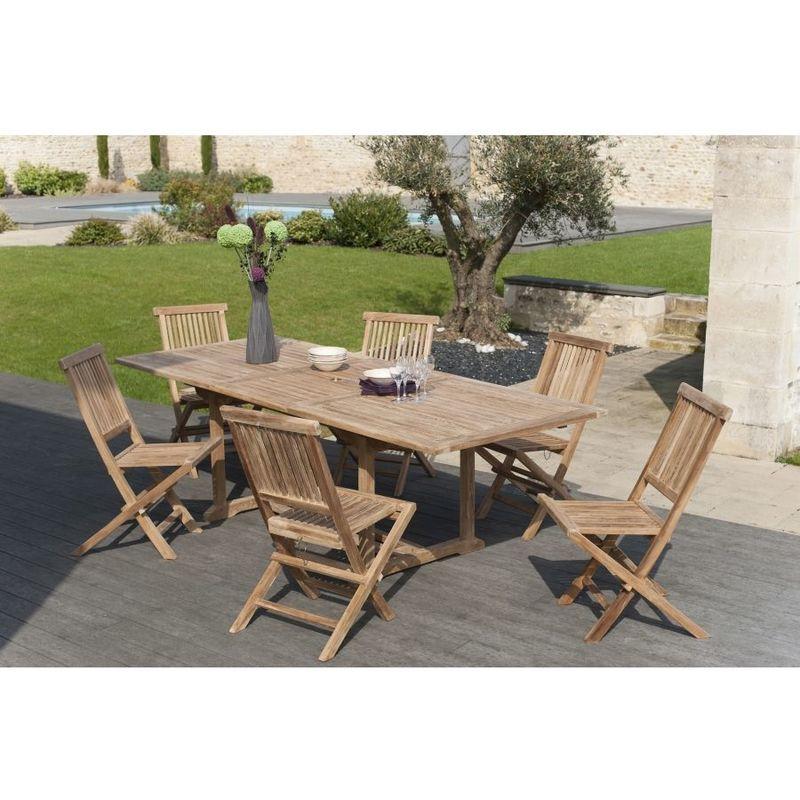Salon de jardin en teck grade A, comprenant 1 table rectangulaire  180*240/100 cm et 3 lots de 2 chaises java - MACABANE - 3302535009273