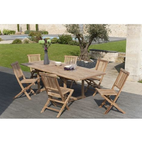 Salon de jardin en teck grade A, comprenant 1 table rectangulaire ...