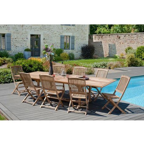 Salon de jardin en teck grade A, comprenant 1 table rectangulaire  200*300/120 cm et 4 lots de 2 chaises lombock - MACABANE