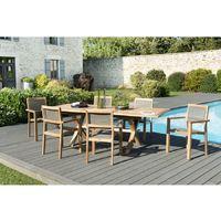 Salon de jardin en teck grade A, comprenant 1 table rectangulaire pieds  croisés extensible 180/240*100cm et 3 lots de 2 fauteuils empilables  textilène ...