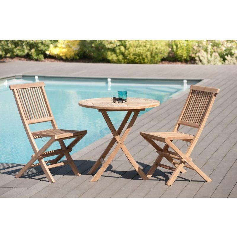 Salon de jardin en teck grade A, comprenant 1 table ronde pliante 80 cm et  1 lot de 2 chaises java - MACABANE