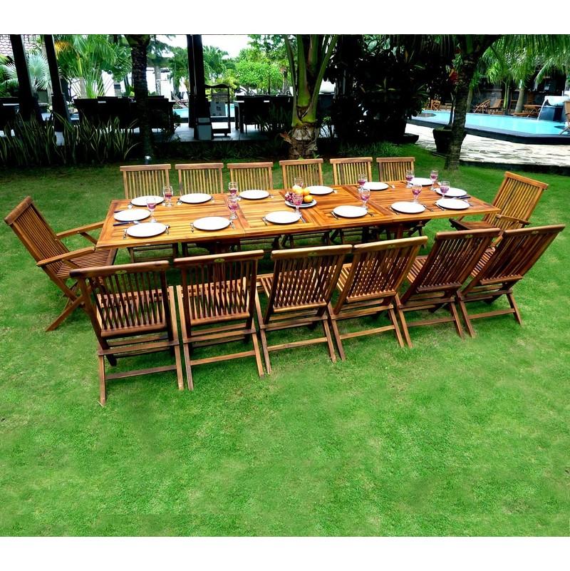 Salon de jardin en teck grande taille - table 300 cm