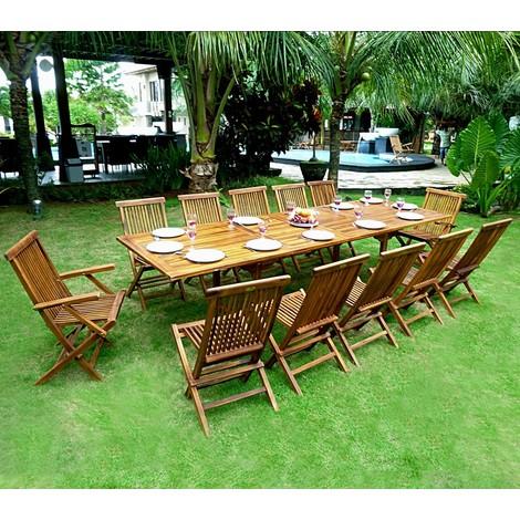 Salon de jardin en teck grande taille - table 300 cm - 35