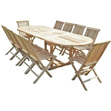 Salon de jardin en teck HENUA 10 chaises