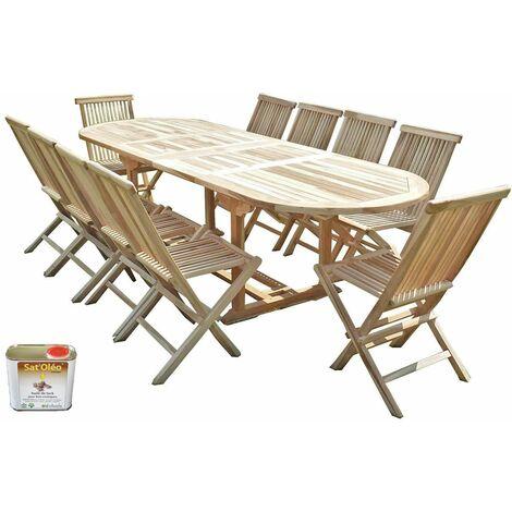Salon de jardin en teck HENUA 10 chaises - Bundle huile