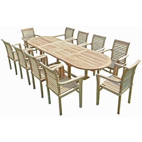 Salon de jardin en teck HENUA 10 fauteuils empilables