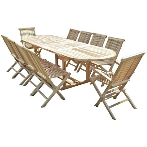 Salon de jardin en teck HENUA 8 chaises 2 fauteuils