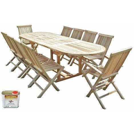 Salon de jardin en teck HENUA 8 chaises 2 fauteuils - Bundle huile