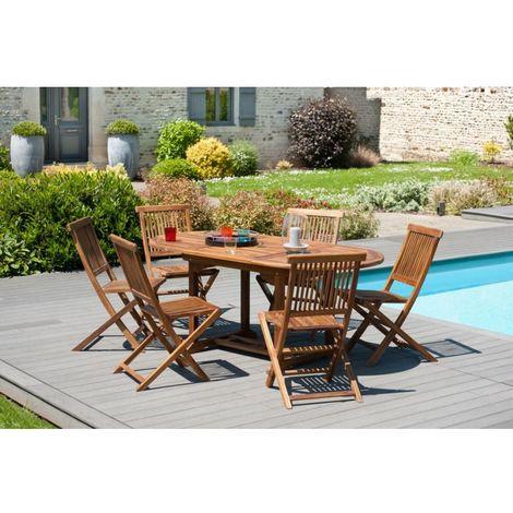Salon de jardin en teck huilé, comprenant 1 table ovale 120*180/90 ...