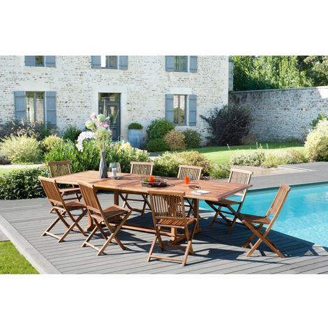 Salon de jardin en teck huilé, comprenant 1 table rectangulaire 200*300/120  cm et 4 lots de 2 chaises java - MACABANE