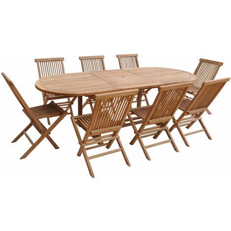 Salon de jardin en teck LOMBOK - table ovale extensible - 8 places - Marron