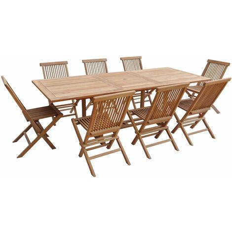 Salon de jardin en teck LOMBOK - table rectangulaire extensible - 8 places - Marron