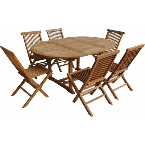 Salon de jardin en teck LOMBOK - table ronde extensible - 6 places - Marron